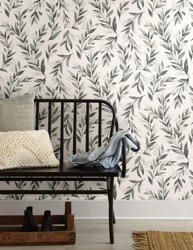 ME1537 Magnolia Home Olive Branch Wallpaper Charcoal Gray