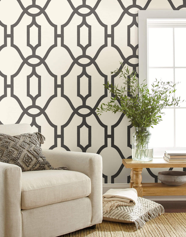 ME1550 Magnolia Home Woven Trellis Wallpaper Charcoal Gray