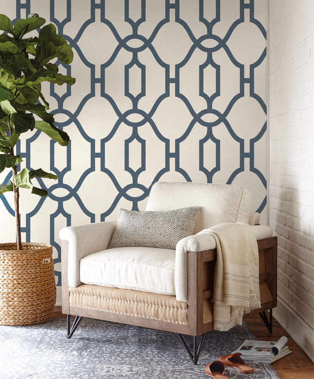 ME1552 Magnolia Home Woven Trellis Wallpaper Blue White