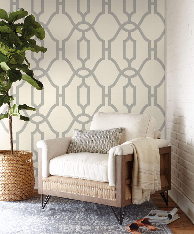 ME1555 Magnolia Home Woven Trellis Wallpaper Grey Cream