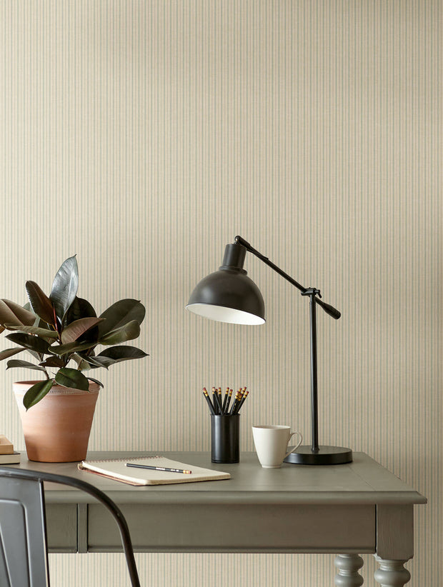 ME1560 Magnolia Home French Ticking Office Wallpaper Khaki Light Blue