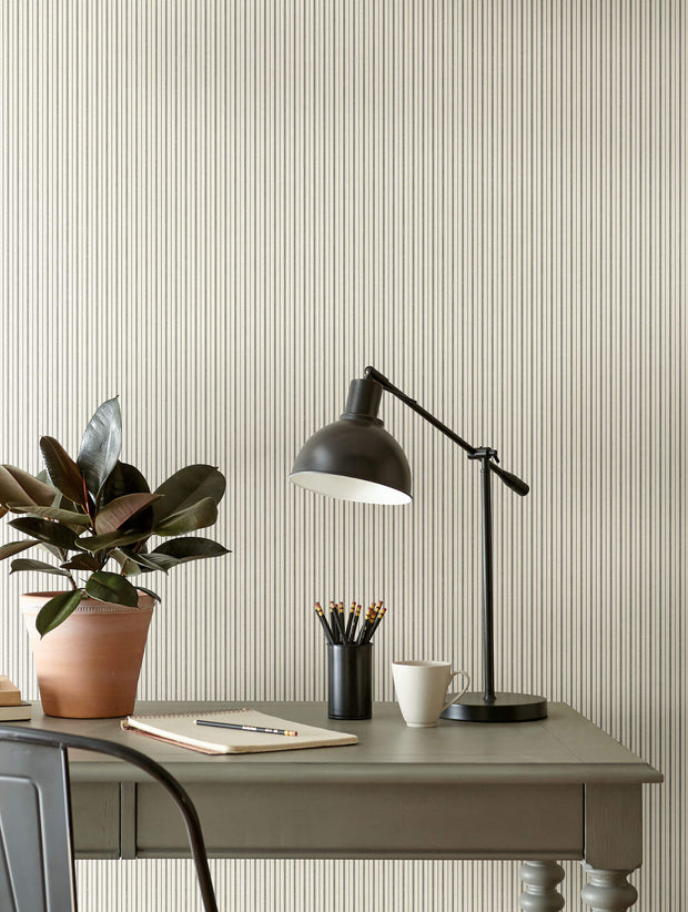 ME1561 Magnolia Home French Ticking Office Wallpaper Charcoal Black