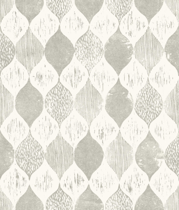ME1564 Magnolia Home Woodblock Print Wallpaper Grey White