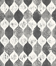 ME1565 Magnolia Home Woodblock Print Wallpaper Black White