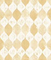 ME1566 Magnolia Home Woodblock Print Wallpaper Yellow White