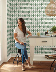 ME1567 Magnolia Home Woodblock Print Wallpaper Green White