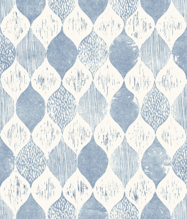 ME1568 Magnolia Home Woodblock Print Wallpaper Blue White