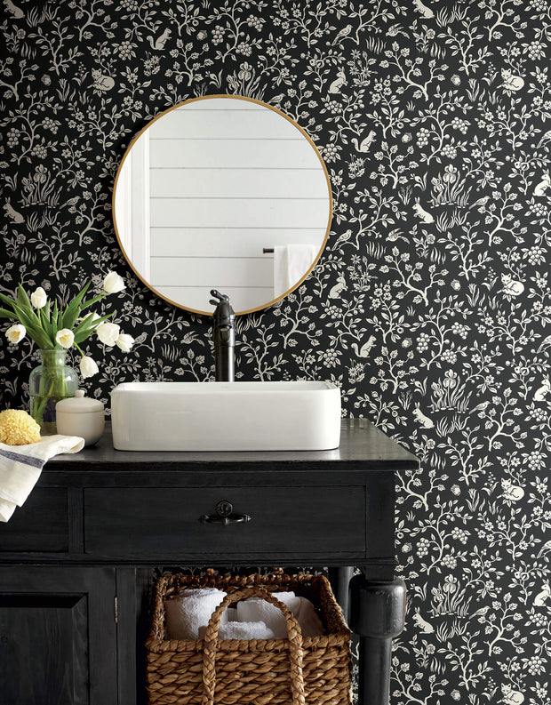 ME1570 Magnolia Home Fox & Hare Bathroom Wallpaper Black White