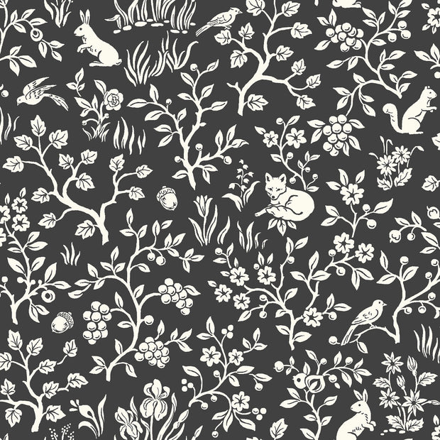 ME1570 Magnolia Home Fox & Hare Wallpaper Black White