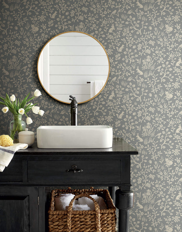 ME1571 Magnolia Home Fox & Hare Bathroom Wallpaper Grey
