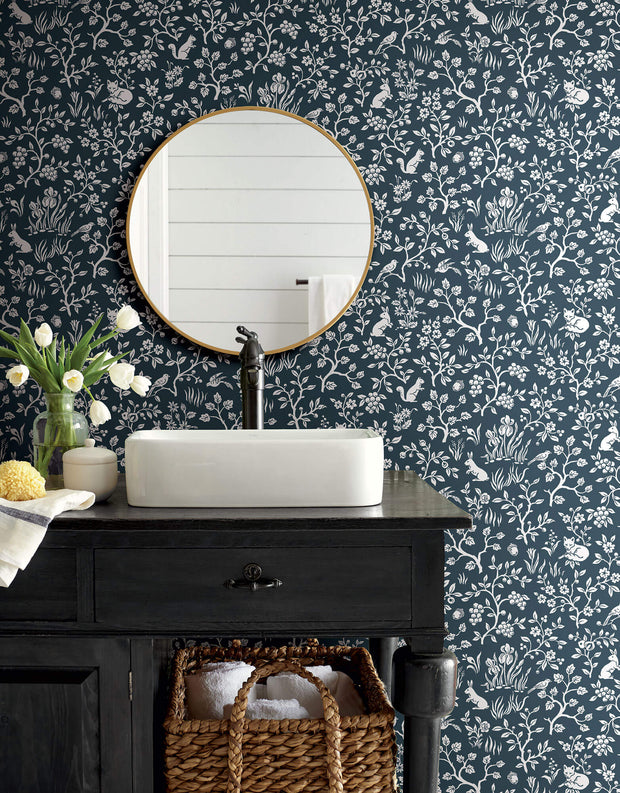 ME1572 Magnolia Home Fox & Hare Bathroom Wallpaper Navy White