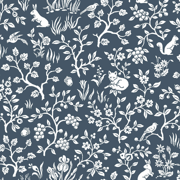 ME1572 Magnolia Home Fox & Hare Wallpaper Navy White