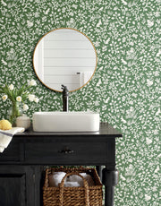 ME1573 Magnolia Home Fox & Hare Bathroom Wallpaper Forest Green