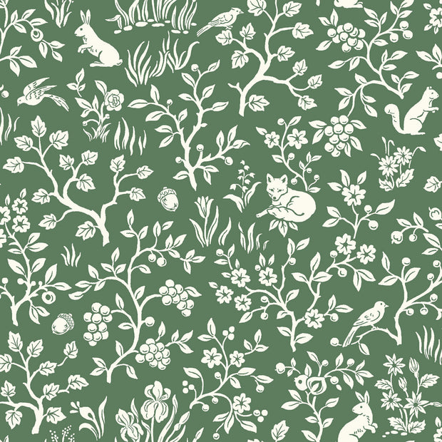ME1573 Magnolia Home Fox & Hare Wallpaper Forest Green