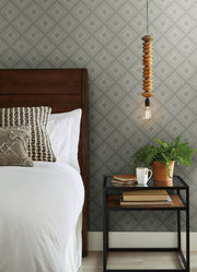 ME1575 Magnolia Home Diamond Sketch Bedroom Wallpaper Light Grey