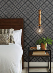 ME1576 Magnolia Home Diamond Sketch Bedroom Wallpaper White on Black