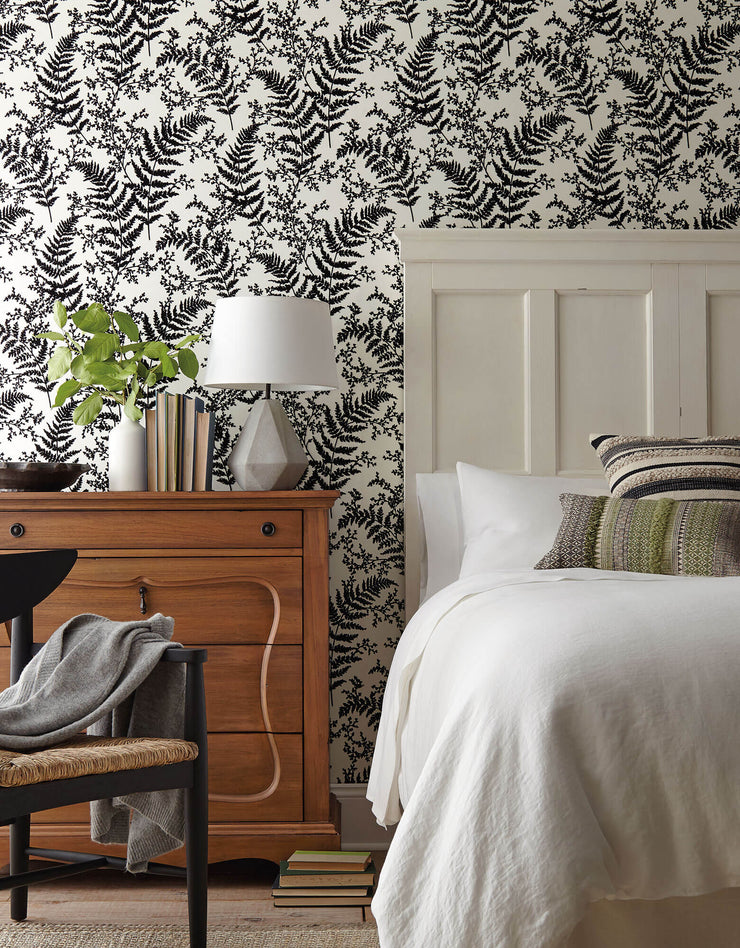 ME1583 Magnolia Home Forest Fern Bedroom Wallpaper Black
