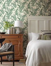 ME1585 Magnolia Home Forest Fern Bedroom Wallpaper Dark Green