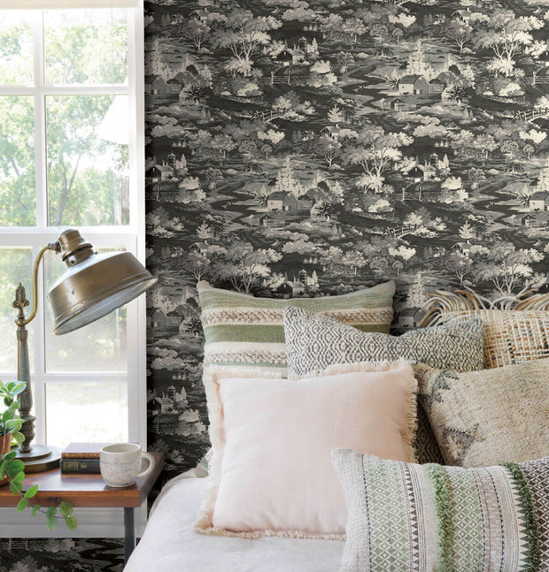 MH1500 Magnolia Home Homestead Toile Wallpaper Black