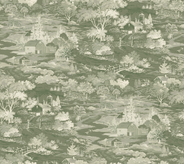 MH1504 Magnolia Home Homestead Toile Wallpaper Green