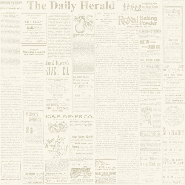MH1509 Magnolia Home The Daily Newspaper Wallpaper Yellow Gray