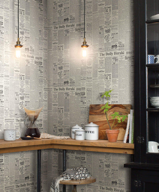 MH1510 Magnolia Home The Daily Newspaper Wallpaper Gray Black