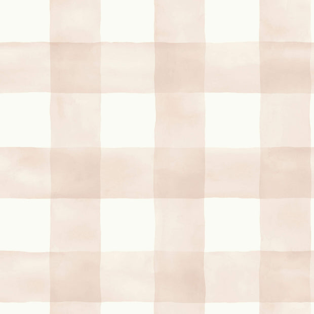 MH1517 Magnolia Home Watercolor Check Wallpaper Pink White