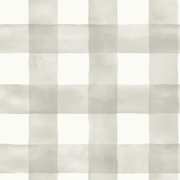 MH1518 Magnolia Home Watercolor Check Wallpaper Gray White
