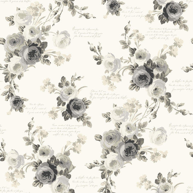 MH1524 Magnolia Home Heirloom Rose Wallpaper Gray White