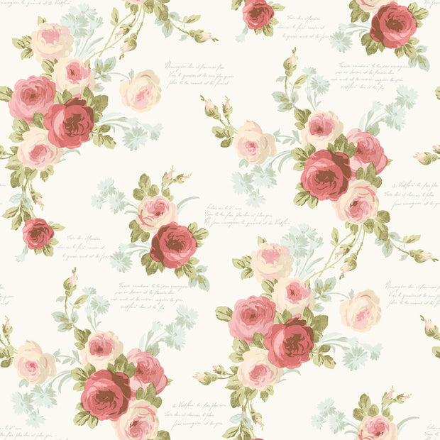 MH1525 Magnolia Home Heirloom Rose Wallpaper Pink