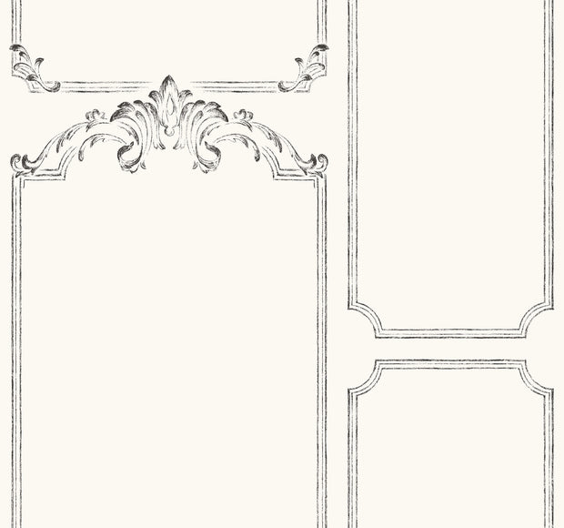 MH1533 Magnolia Home French Panel Wallpaper White Black