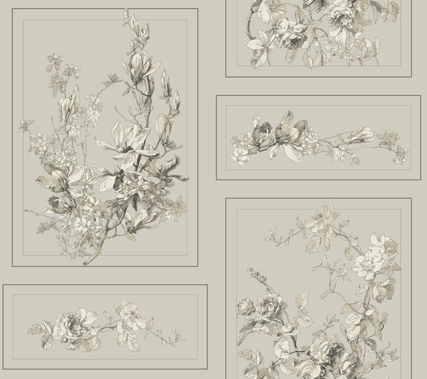 MH1544 Magnolia Home The Magnolia Wallpaper Brown Gray