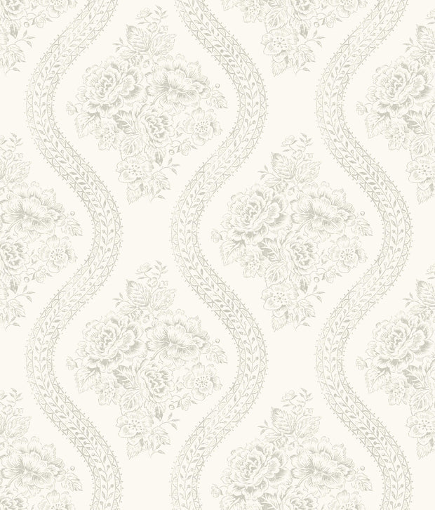 MH1595 Magnolia Home Coverlet Floral Wallpaper Gray White