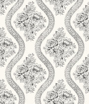MH1597 Magnolia Home Coverlet Floral Wallpaper Black White