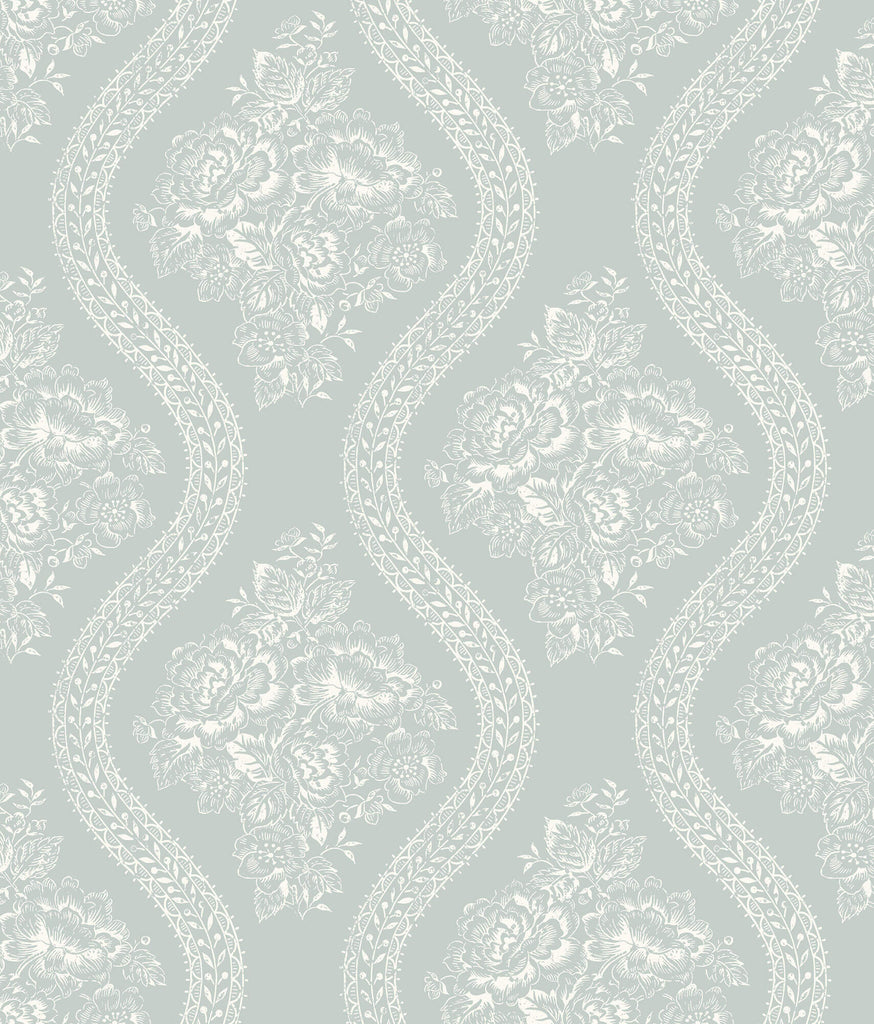 Mh1598 Magnolia Home Coverlet Floral Wallpaper White Blue Us