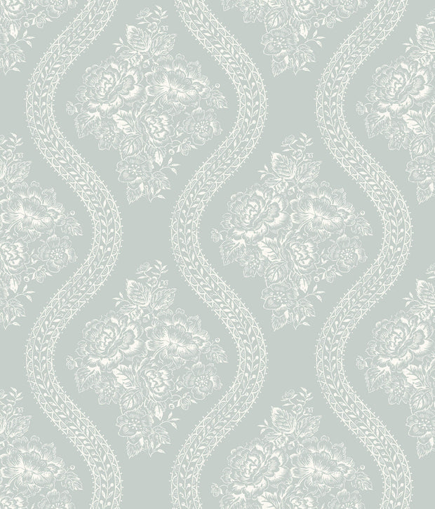 MH1598 Magnolia Home Coverlet Floral Wallpaper Light Blue