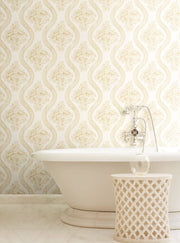 MH1602 Magnolia Home Coverlet Floral Bathroom Wallpaper Yellow