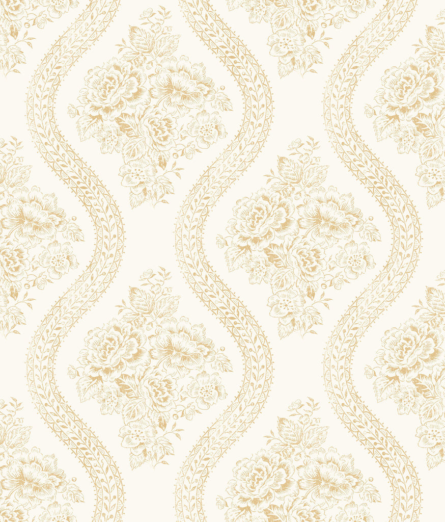 Mh1602 Magnolia Home Coverlet Floral Wallpaper Yellow Off White
