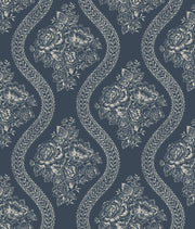 MH1603 Magnolia Home Coverlet Floral Wallpaper Blue