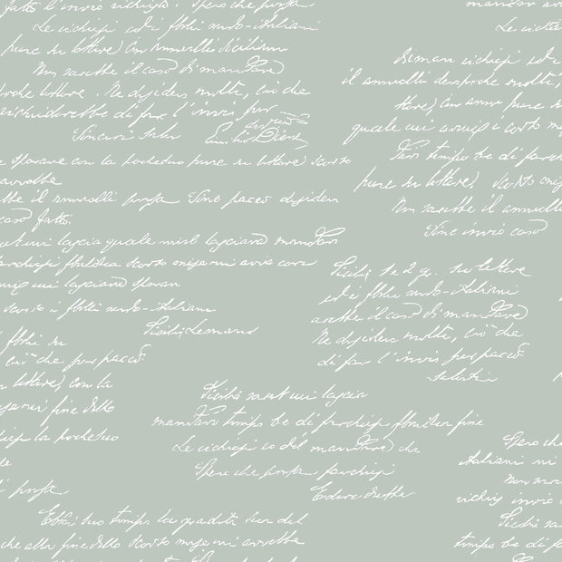 MH1609 Magnolia Home Noteworthy Calligraphy Wallpaper Green White