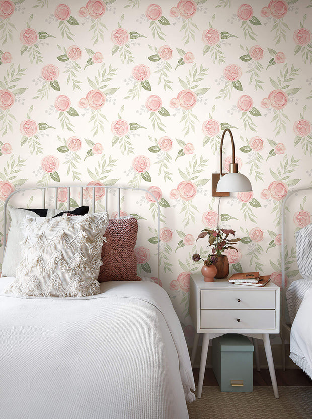 Magnolia Home Watercolor Roses Wallpaper - Coral