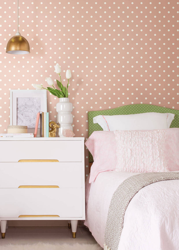 MH1574 Magnolia Home Dots on Dots Wallpaper White Light Pink