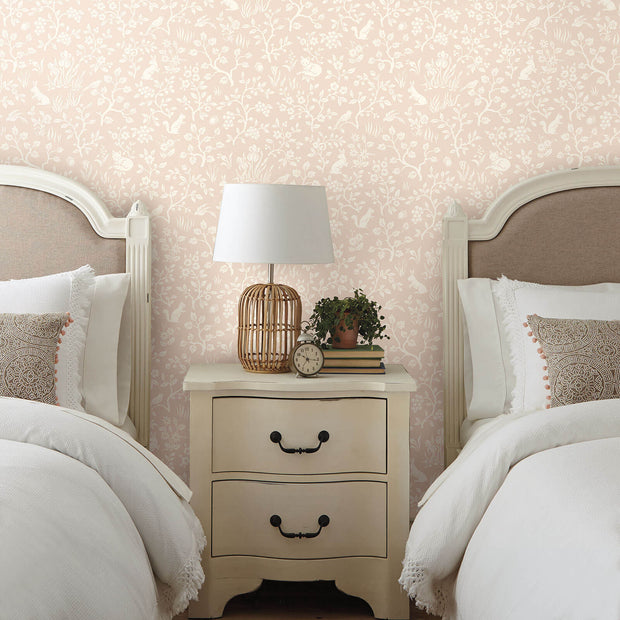 MK1110 Magnolia Home Fox and Hare Wallpaper Pink