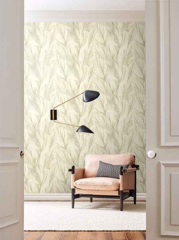 Candice Olson Peaceful Plume Wallpaper - Beige