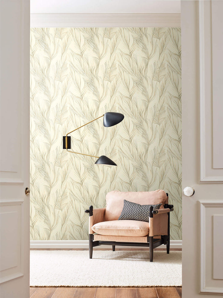 Peaceful Plume Wallpaper by Candice Olson - Beige
