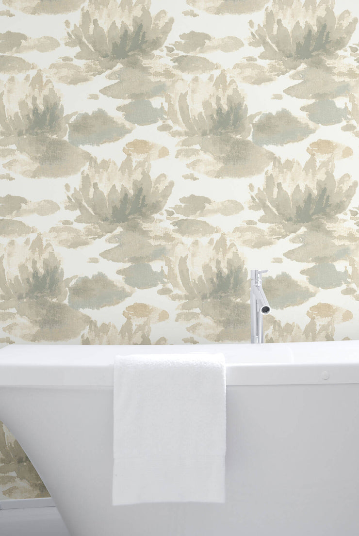 Water Lily Wallpaper by Candice Olson - Grey