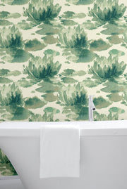 Candice Olson Water Lily Wallpaper - Green