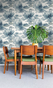 Candice Olson Water Lily Wallpaper - Dark Blue