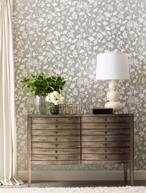 Gingko Trail Wallpaper by Candice Olson - Silver