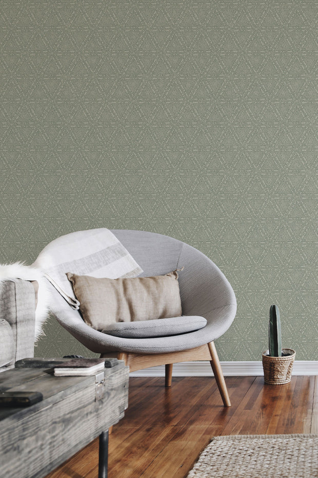 NR1510 Norlander Norse Tribal Wallpaper York Green